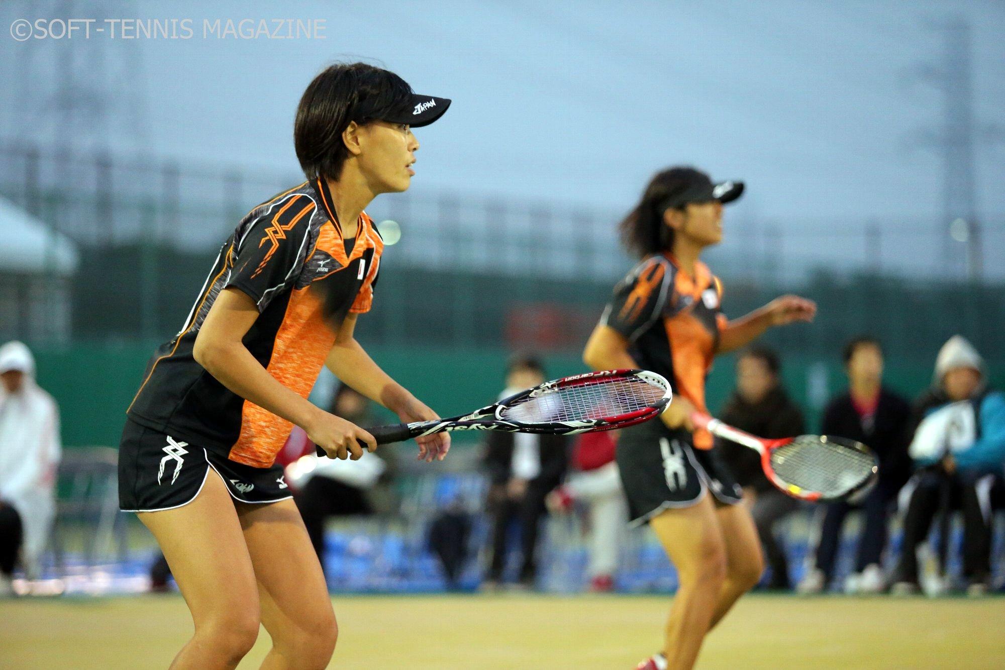 女子チームいちの経験豊富な森原(左)は中川とのペアで個人戦悲願のV。国別対抗でも期待!