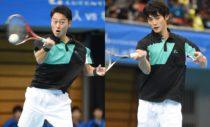 社会人チームの1番手で勝利した船水雄太(左)/九島一馬(右)。優勝トーナメントでも頂点に