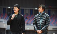 男子優勝の増田/柴田(和歌山県庁/同志社クラブ)は、優勝インタビューで声援への感謝を述べた