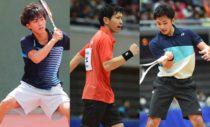 第1回全日本男子選抜ソフトテニス大会シングルスに出場の3選手。左から全日本シングルス8強の因京将(早稲田大)、同2位の長江光一(NTT西日本広島)、同3位の船水颯人(早稲田大)