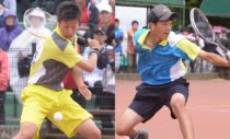 高3のハイジャパ、シングルスで対戦した上松俊貴(左)、内田理久(右) 写真◎井出秀人