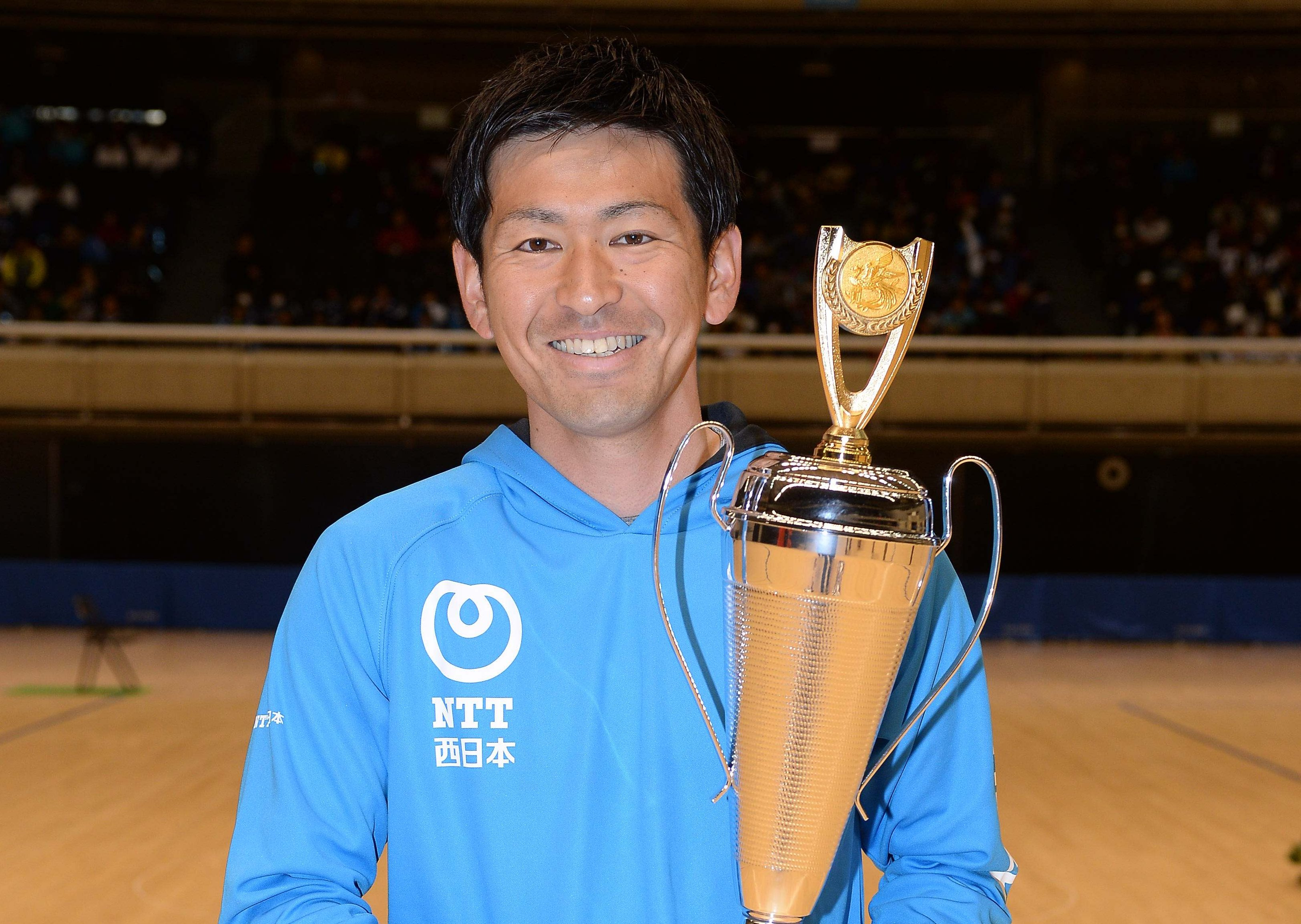 第1回全日本男子選抜・シングルス優勝の長江光一(NTT西日本広島)