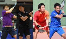 左から昨年男子王者の増田健人、2位・長江光一、3位・船水颯人、船水雄太