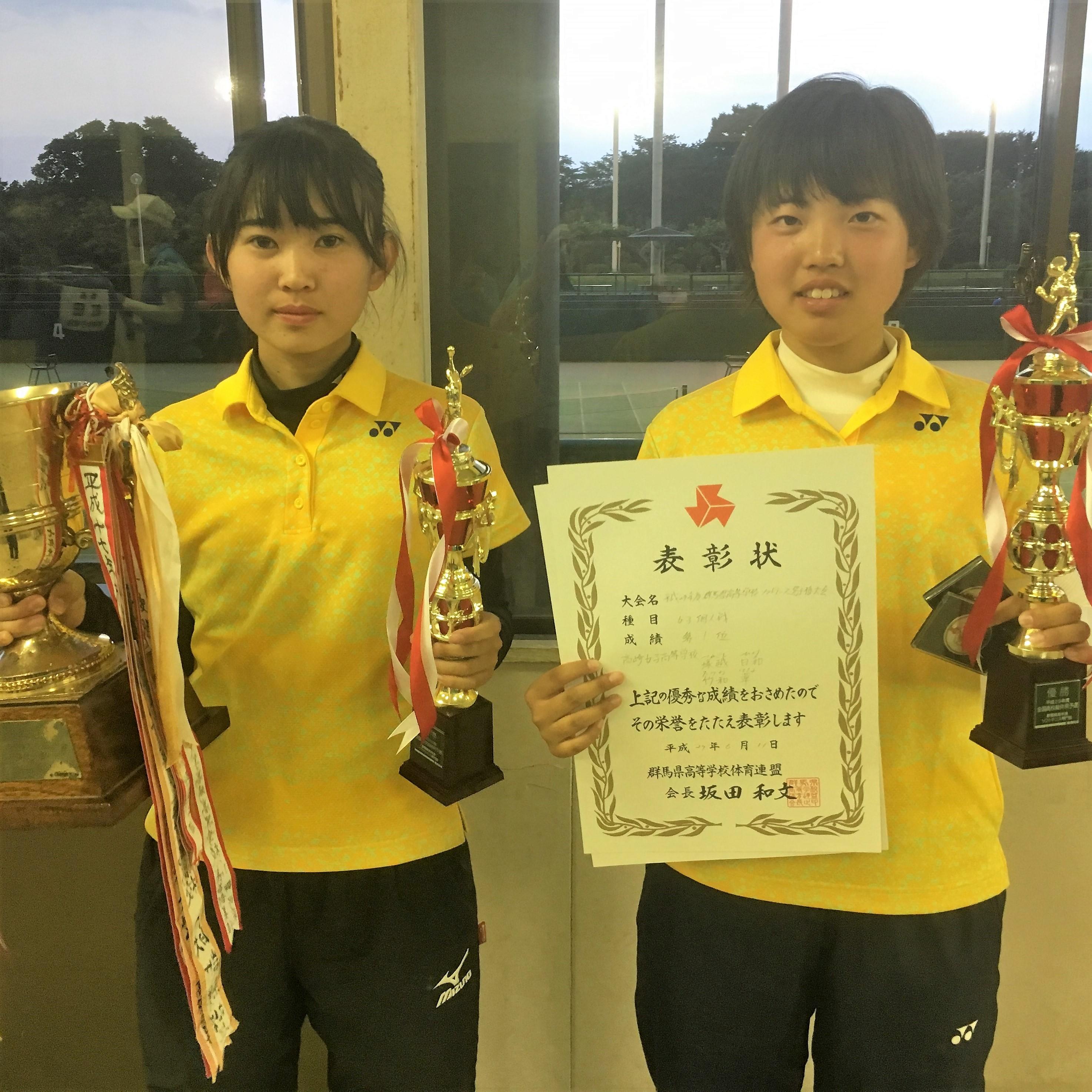女子優勝・竹和華/塚越日和(高崎女子)。竹和は昨年夏は全中個人戦3位入賞を果たしたルーキー