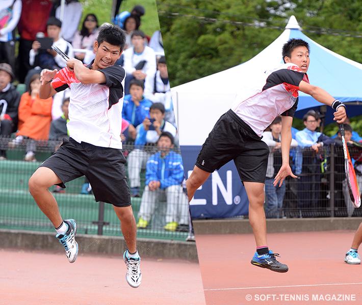 上松(右)はサウスポー本倉(左)とのペアで二冠を達成