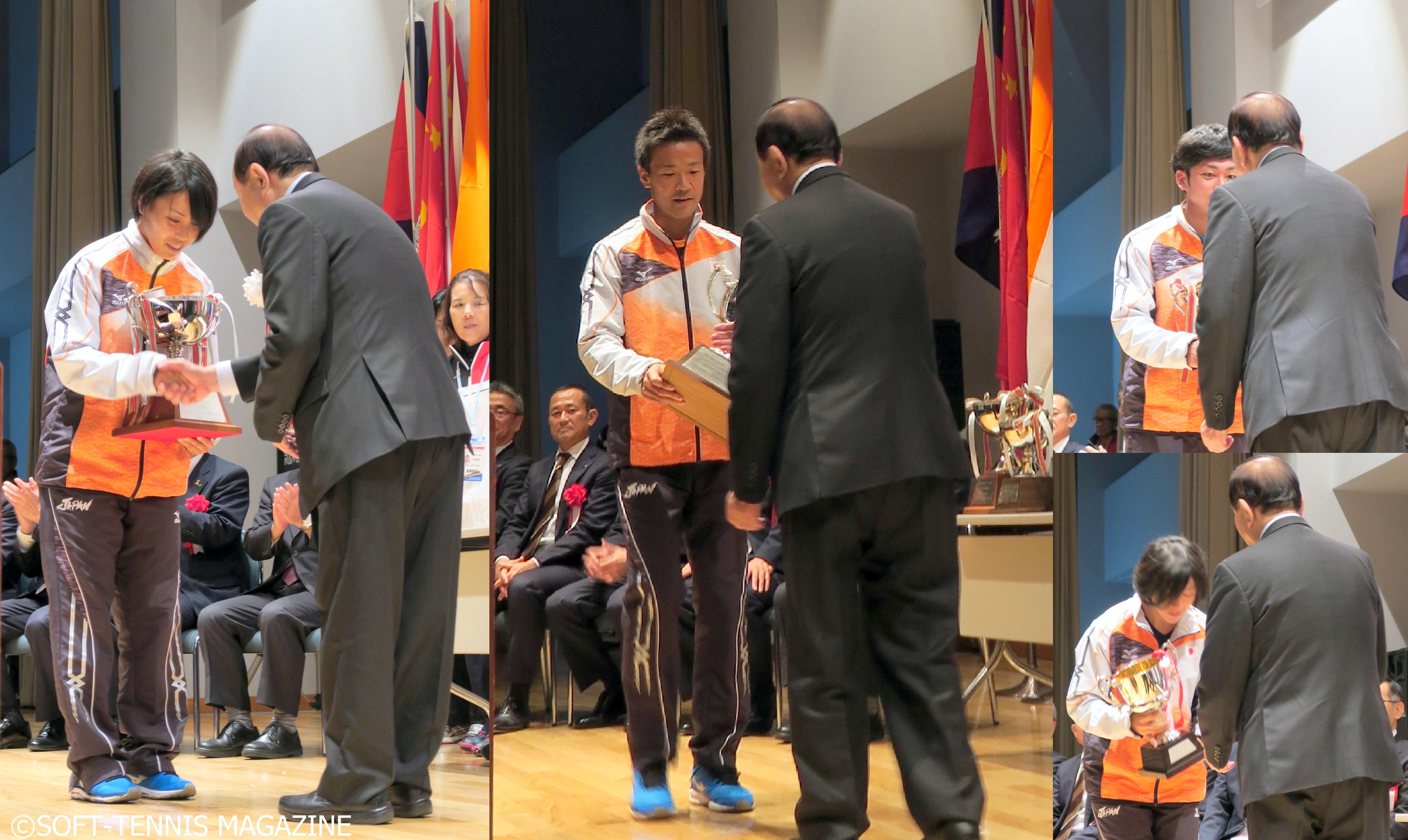 男女団体、女子シングルス、男子シングルス、ミックスダブルスなど前回2012年のアジア選手権で日本が獲得した優勝カップを返還
