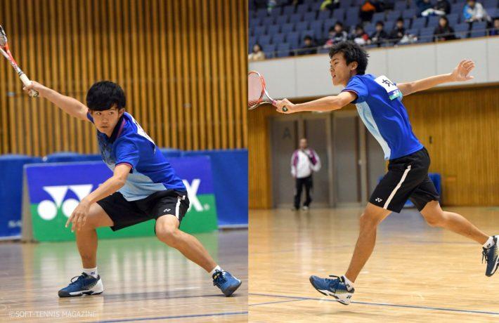 内本(左)は打ってよし上げてよし、アジア選手権からインドアでも変わらぬ充実ぶり。丸山(右)との長年のペアリングの良さを披露。内本は早稲田大1年で18歳、丸山は明治大1年で今月19歳になったばかり