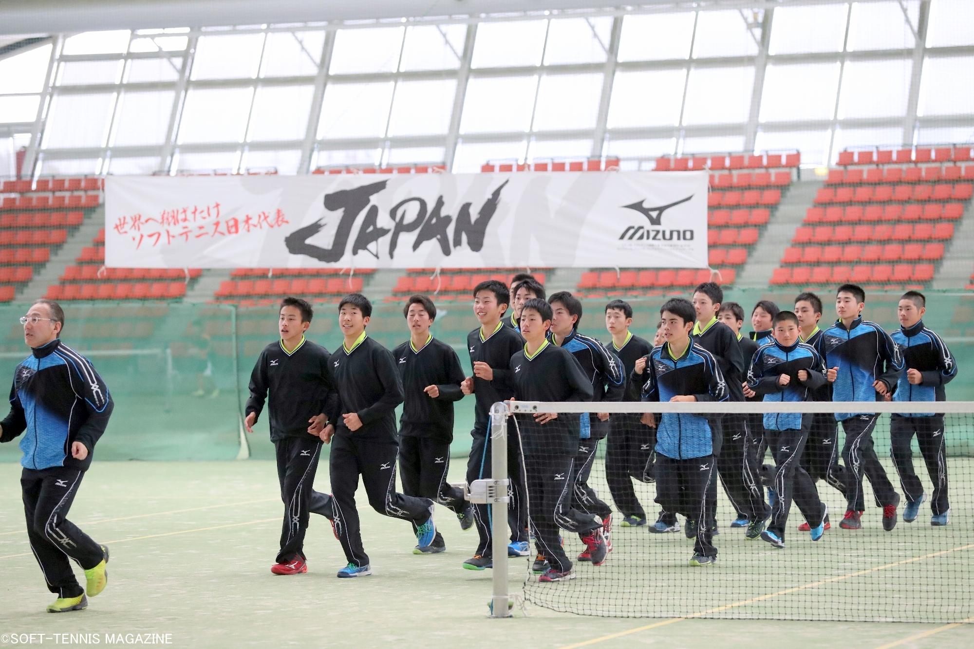 全日本アンダー男子は2月に三重県四日市ドームで合宿を行った。小中学生世代のU-14には、今回の都道府県全中に出場している選手も