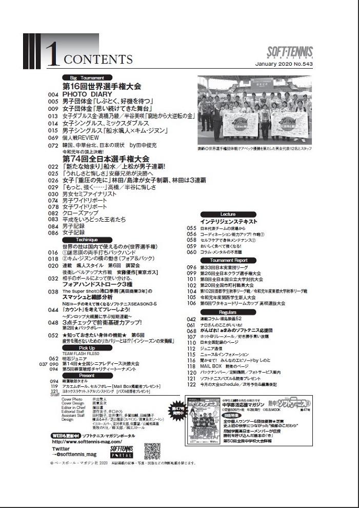 ソフトテニスマガジン2020年1月号-目次