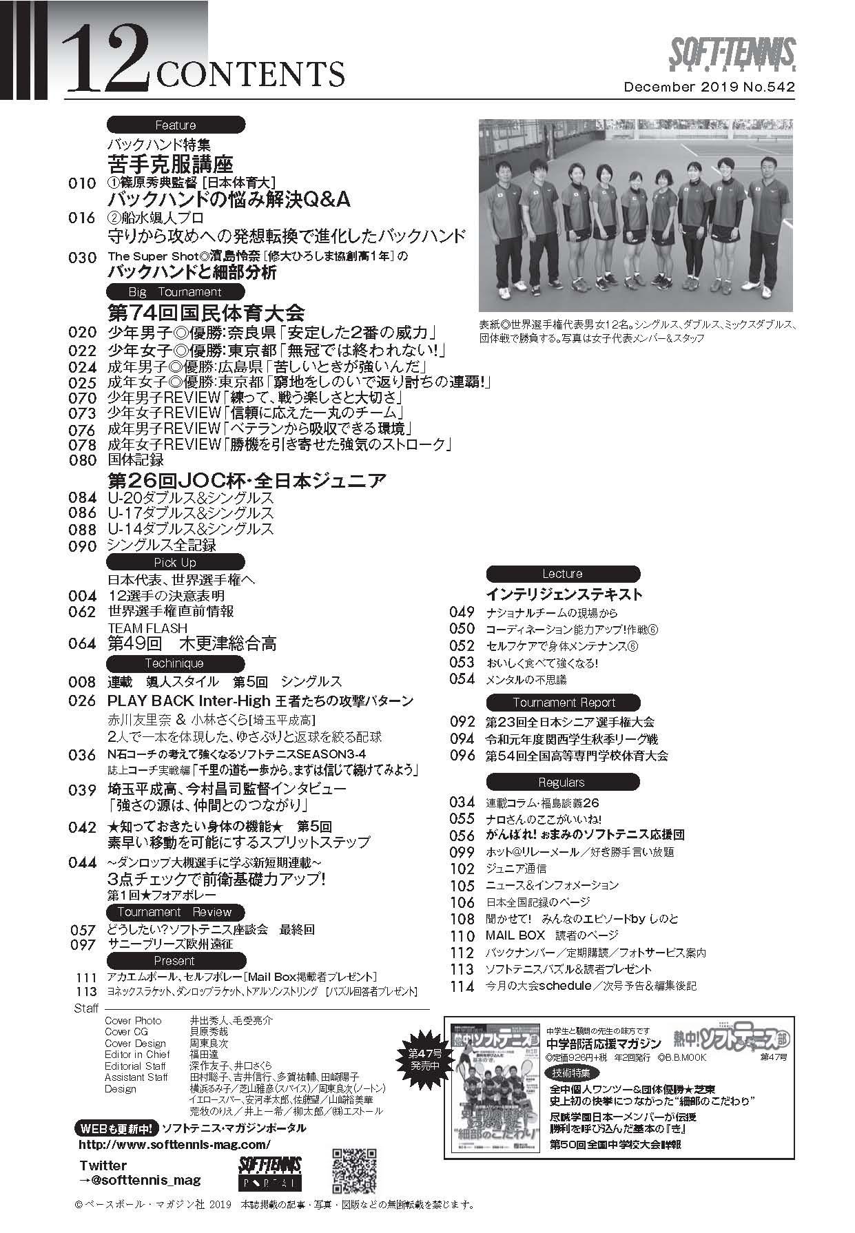 ソフトテニスマガジン2019年11月号-目次